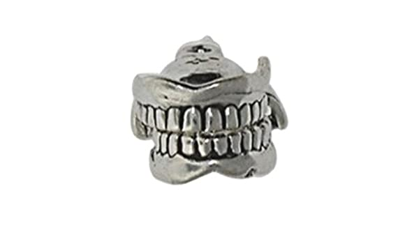 Sterling Silver Girls .8mm Box Chain 3D Dental Mouth Teeth Floss Pendant Necklace