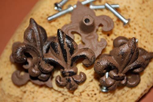 Southern Metal Set of 50 Fleur De Lis Knobs Cabinet Drawer Pulls Cast Iron Vintage Look, 2 1/8