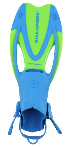 U.S. Divers Proflex JR Snorkeling Fins, Fun Blue, Medium ()