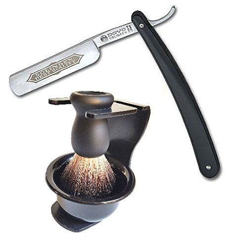 DOVO Solingen Straight Razor with Badger Shaving Brush Stand and Soap Bowl by DOVO Shaving Set