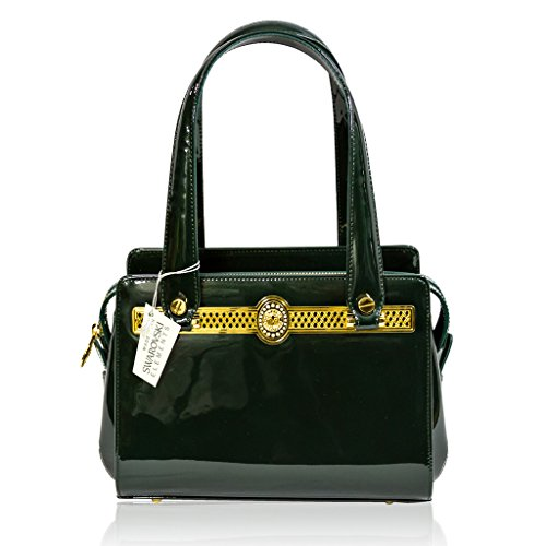 Valentino Orlandi Italian Designer Juniper Green Patent Leather Purse Boxy Bag - Italian Patent Leather Handbag Purse