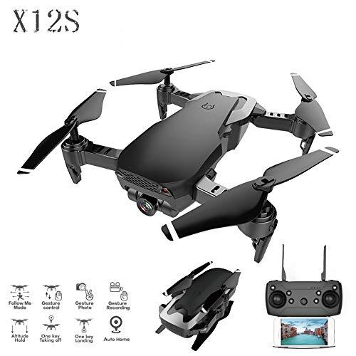 (ZJYYD Foldable Drone with Double Camera 120°Wide-Angle 1080P HD Camera One Key Return Headless Mode Streamline Shape with Night Light,Black)