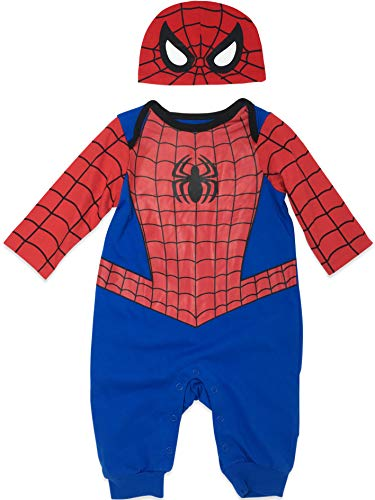 Marvel Spiderman Baby Boys' Costume Coverall Romper and Hat Set (0-3M)
