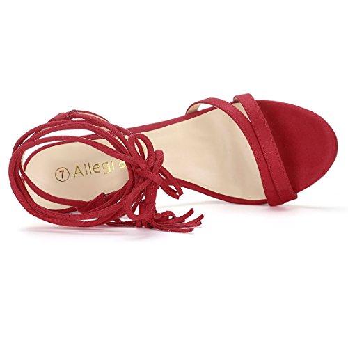 Alto US 6 Stringati Sandali K Allegra Donne Rosso Stiletto Tacco 5 Staminifera Infiorescenza xIwOzRqF