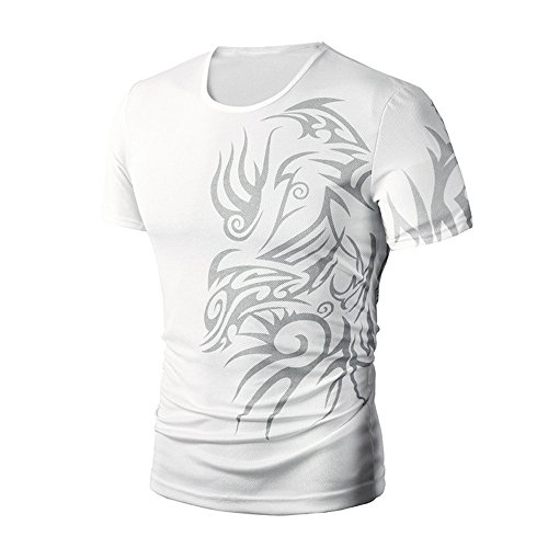 PASATO Men Summer Round Neck Tee Printing Men's Short-Sleeved T-Shirt Top Blouse(White,M=US:S) by PASATO Blouse For Men (Image #2)