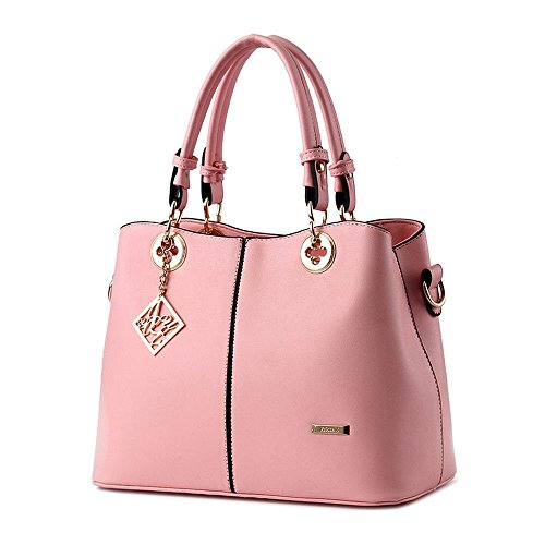 Ryse Womens Fashionable Metal Ornaments Classic Exquisite Handbag Shoulder Bag(Pink)