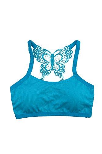 Las Mujeres Elegantes Backless Vendaje Mariposa Bralette Taza Wireless Bra Sujetador Deportivo Blue