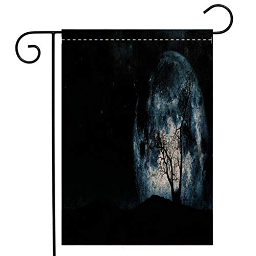 BEIVIVI Creative Home Garden Flag Fantasy Night Moon Sky with Tree Silhouette Gothic Halloween Colors Scary Artsy Background Slate Blue Garden Flag Waterproof for Party Holiday Home Garden Decor