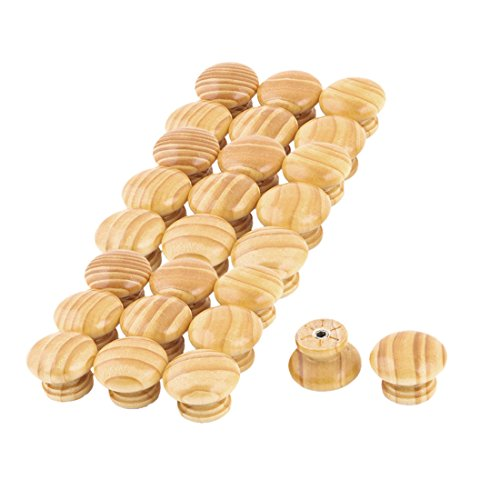 uxcell Wood Household Round Door Box Cabinet Handle Grip Pull Knob 26pcs Light Brown by uxcell