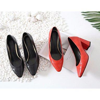 Confort ggx Rojo Negro PU Casual LvYuan Confort Primavera Tacones Plano black Mujer ZSandHqt