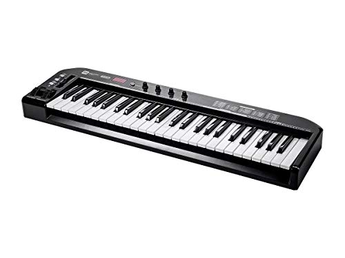 Monoprice MIDI Keyboard Controller - Black, 49 Key | Pitch-bend & Modulation wheels, Driverless plug and play for Windows and Mac PCs - Stage Right Series