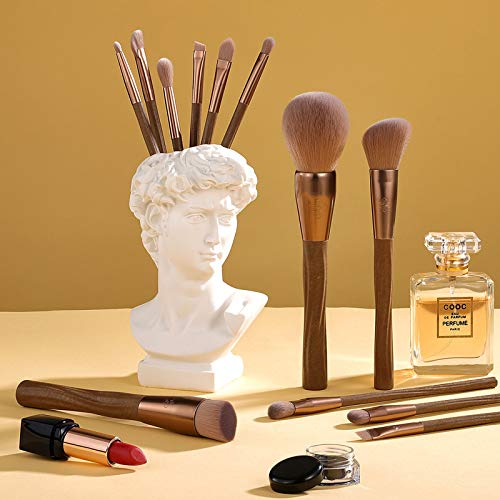 Makeup Brushes Set 12Pcs Vegan Brush Kit for Powder Foundation Blush Blending Eye Shadow Eyeliner Cosmetics Brushes with Portable Brush Holder- Cruelty-Free Synthetic Bristle (Coffee)