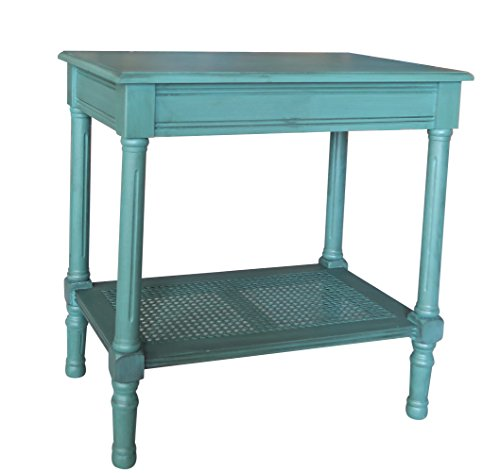 Urbanest Jamestown Side Table with Rattan Shelf, Teal ()