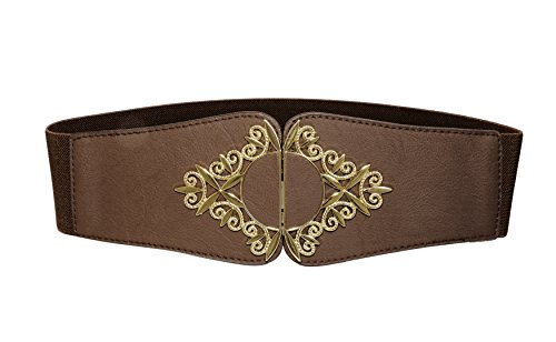 Modeway Womens Wide Leather Elastic Stretch Cinch Waist Belt(L-XL,Coffee)AP03-2
