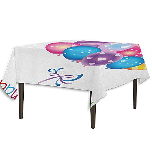 DouglasHill Birthday Washable Tablecloth Balloon Bouquet with Stars and Heart Shapes Best Wishes Joyful Happy Event Print Desktop Protection pad W54.3 x L54.3 Inch Multicolor
