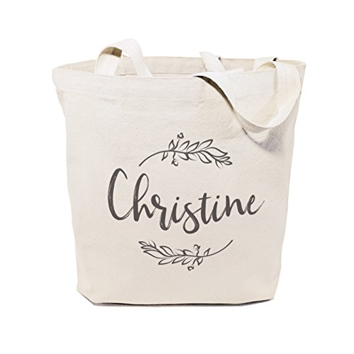 The Cotton & Canvas Co. Personalized Name with Vine Beach, Shopping and Travel Resusable Shoulder Tote and Handbag