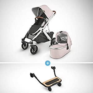 UPPAbaby-Vista-V2-Stroller-Alice-Dusty-PinkSilverSaddle-Leather-Piggyback-for-Vista-Vista-V2