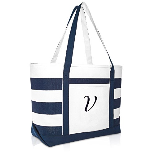 DALIX Premium Beach Bags Striped Navy Blue Zippered Tote Bag Monogrammed V