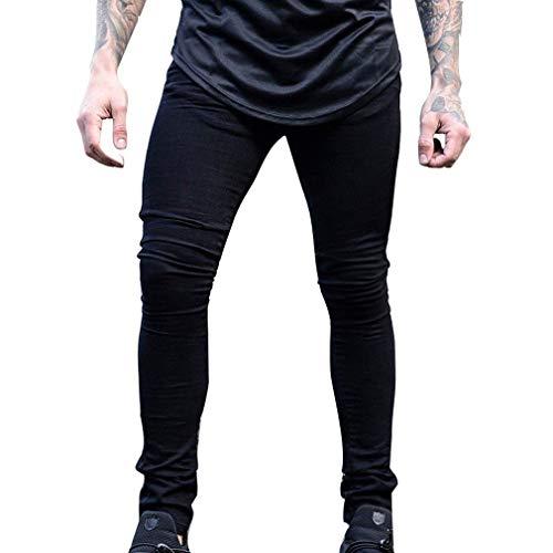 R Masculina Pantalones Denim Stretch Skinny Pantalones Slim Jeans Pantalones De Mid Ropa Moda Casual Color Sólido De Cierre Waist Negro Fit con Los Hombres Straight qYEx7w