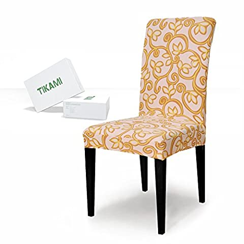 TIKAMI 4PCS Spandex Printed Fit Stretch Dinning Room Chair Slipcovers (4, Yellow Flower) (Yellow Room Chairs)