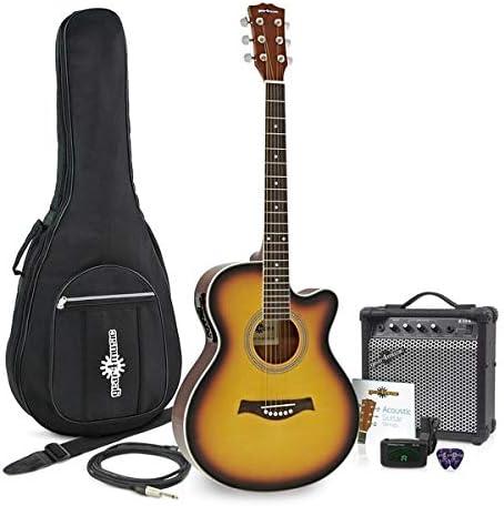 Guitarra Electroacustica Single Cutaway + Pack Ampli 15 W Sunburst ...