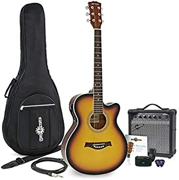 Guitarra Electroacustica Single Cutaway + Pack Ampli 15 W Sunburst