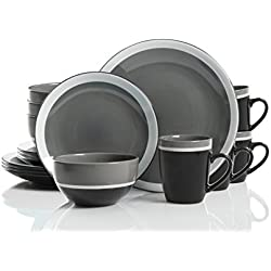 Gibson Studio 114392.16RM Color Eclipse 16 Piece Dinnerware Set, Grey