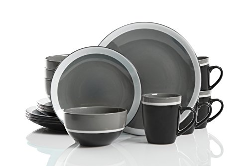 Gibson Studio 114392.16RM Color Eclipse 16 Piece Dinnerware Set, Grey