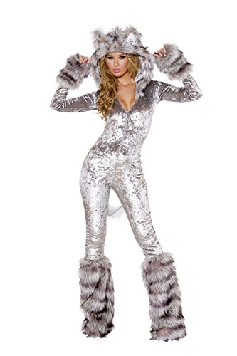 American Werewolf Hooded Catsuit Costume Bundle with Sexy Stockings (Sexy Werewolf Costume)