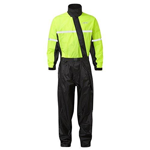 JDC Motorrad Kombi – Regenkombi – 1-Stück – Wasserdichter Regenschutz – SHIELD – Schwarz Gelb – L – Länge Lang