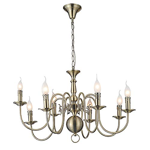 Elegant Chandelier 8 Lights Candles Antique Brass Colored 8 60W E14 Hanging Light [Energy Class A]