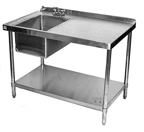 24x48 All Stainless Steel Kitchen Table with Prep Sink on Left by Sani-Safe