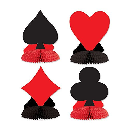Pack of 48 Casino Royale Vegas Card Suit Honeycomb Tissue Party Decorations 4.5''