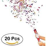 Lote de 20 Cañones Confeti 40 Cm - DISOK - Ideal para Fiestas, Bodas y Celebraciones