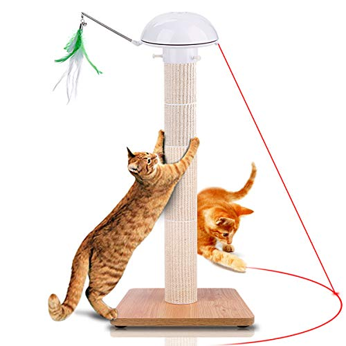 Huicocy Cat Scratching Post,35 inches Tall Cat Tree Detachable Cat Scratcher Post Covered by Allergen-Free Durable Sisal with Interactive Auto Rotating Light Feather Cat Chaser Toy