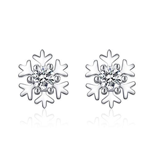 J.Vénus Damen Ohrstecker 925 Sterling Silber, Schneeflocke Ohrringe,Hypoallergen Geschenk fur Frauen Weihanchten, Exquisite Geschenkbox