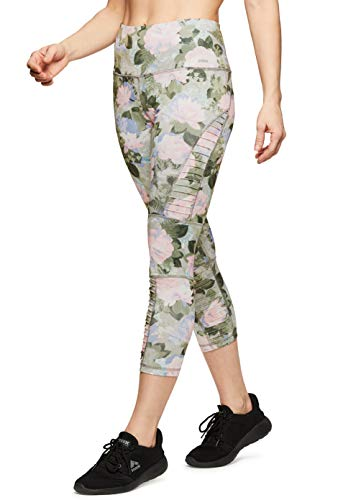 (RBX Active Women's Yoga Workout Leggings Moto Floral Green XL)
