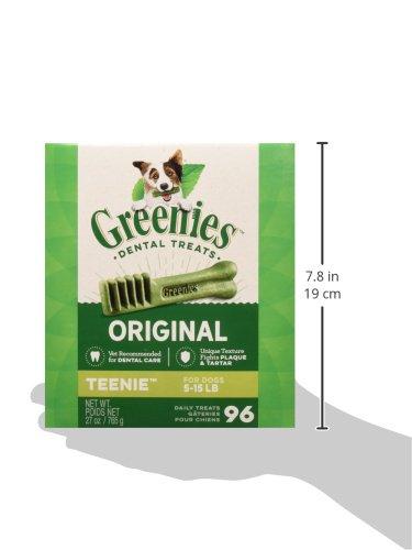 GREENIES Original TEENIE Natural Dog Dental Care Chews Oral Health Dog Treats, 27 oz. Pack (96 Treats)