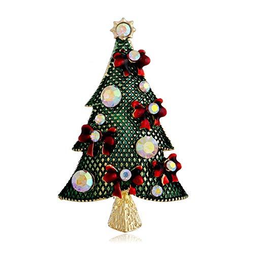 (YOUYUZU Christmas Tree Brooches Rhinestone Crystal Brooches and Pins for Women Girls)