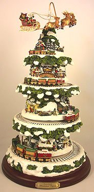 Thomas Kinkade Wonderland Express Animated Tabletop Christmas Tree With Train by Hawthorne Village (Thomas Village Christmas Kinkade)