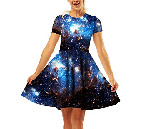 4edc2eacc7dab TenMet Girl's Dress 3D Galaxy Print Short Sleeve Swing Skirt Casual Kids  Party Dress 8-