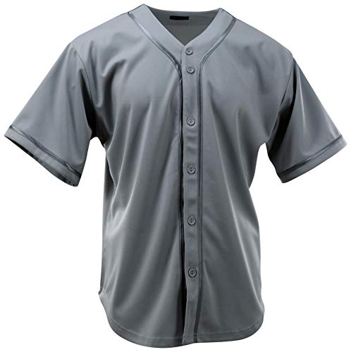 (ChoiceApparel Mens Plain Solid Color Baseball Jersey (L, 107-Grey) )