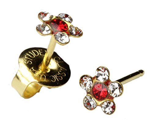 Studs Crystal Centers - Ear Piercing Earrings Clear Crystal Daisy Red Center Gold Stud Studex System 75