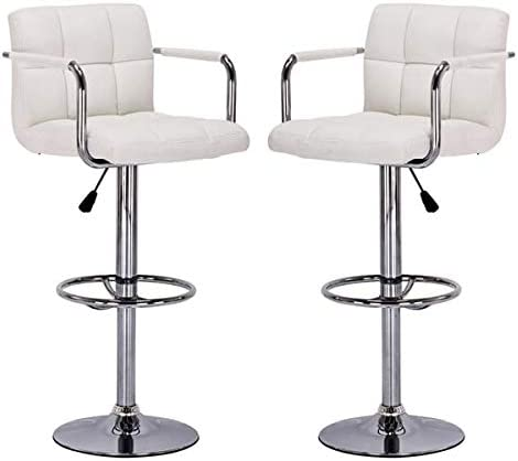 BestOffice Sets of 2 Modern Adjustable Synthetic Leather Swivel Bar Stools Chair