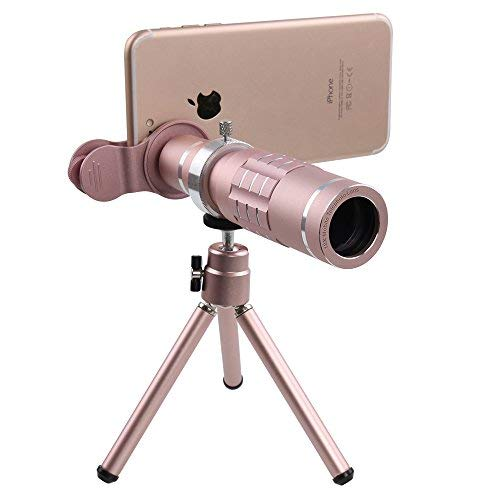 Mobile Phone Zoom Lens Kit, 18X Optical Phone Camera Lens, Universal Optical Telescope Lens For iPhone Samsung Smartphones by WiFun(Rose Gold)
