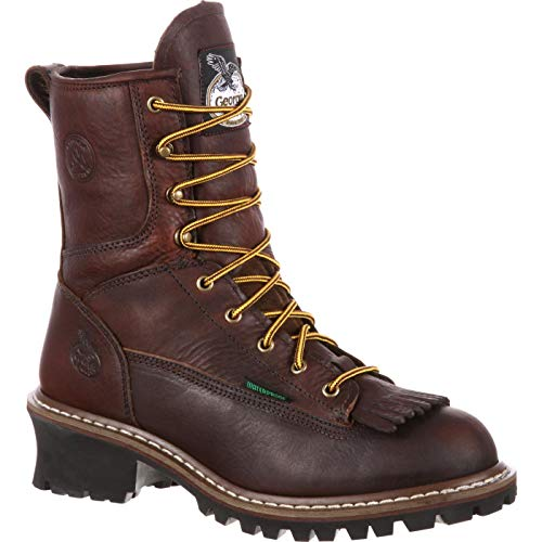 "Georgia Men's 8"" Loggers G7313, Tumbled Chocolate, 13 M US"