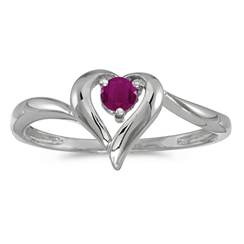 - FB Jewels 10k White Gold Genuine Red Birthstone Solitaire Round Ruby Heart Wedding Engagement Statement Ring - Size 7 (1/4 Cttw.)