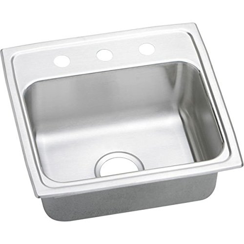 Elkay LRQ19191 Gourmet Lustertone 1-Hole 19-1//2-Inch x 19-Inch Single Basin Top-Mount Stainless Steel Kitchen Sink