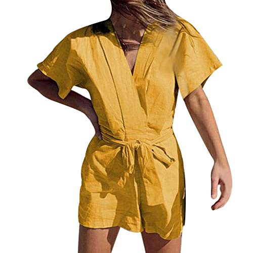 Cenglings Women Solid V-Neck Short Sleeve Cotton and Linen Bandage Jumpsuits Loose Short Rompers Beach Wide Leg Pants Yellow ()