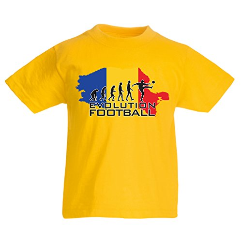 fan products of lepni.me N4514K Kids T-Shirt Evolution Football - Romania (3-4 Years Yellow Multicolor)